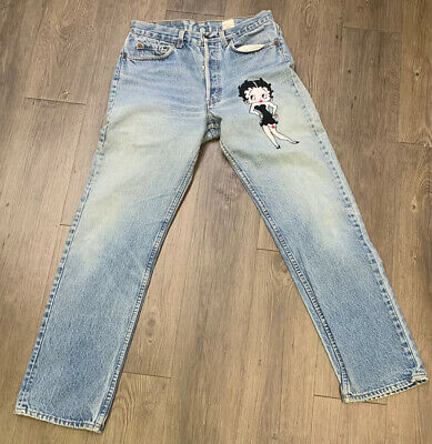 vtg Rare Betty Boop Levis Jeans 501 By Too Cute distressed sz M