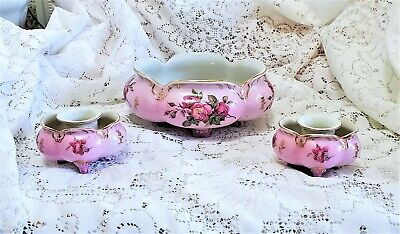 Vtg Pink Hand Painted Roses Footed 3 Pc Centerpiece Set Candlestick Holders Bowl