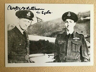 Chesley Peterson Wwii Raf 71St Eagle Sqd. Ace Signed 3.5X5 Photo 7 Kills