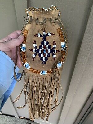 Antique  Native American Indian Beaded Leather Pouch Medicine Bag Pouch