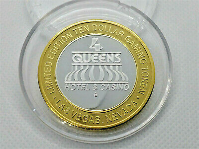 4 QUEENS HOTEL and CASINO $10 Limited Edition Coin Silver Strike GAMING TOKEN