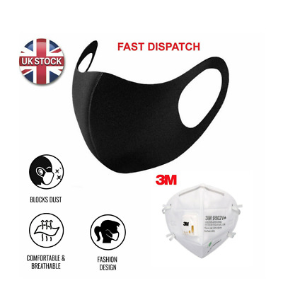 Reusable Face Mask Washable BLACK Lot Anti Dust UK 1/2/10 pack (And BEST BRANDS)