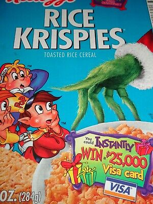 VINTAGE CEREAL BOX Kellogg's RICE KRISPIES The Grinch Sept 2001