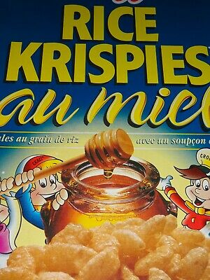 VINTAGE CEREAL Lg BOX Canadian Kellogg's HONEY RICE KRISPIES 1998