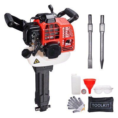 52 cc 2 Stroke Gas Demolition Jack Hammer Concrete Breaker Drill with Chisels