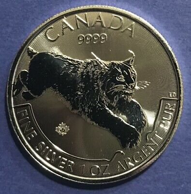 2017 1 oz Fine Silver Maple Leaf Coin $5 CANADA LYNX PREDATOR SERIES .9999 fine