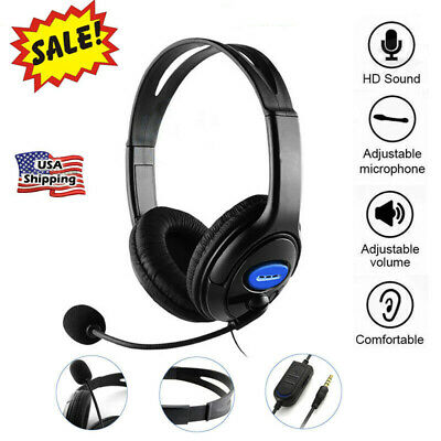 Gaming Headset Blue LED Headphones Stereo Surround For PS4 Xbox one X 360E PC WO