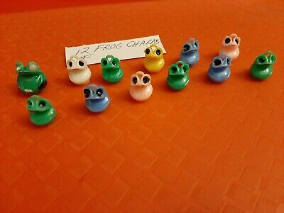 Vintage Gumball/Vending Frog Charms/Pencil Toppers Lot Of 12