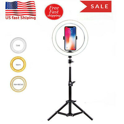 "10"" LED Ring Light Stand Adjustable Lighting Kit Make up Lamp Video Live Selfie"
