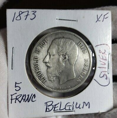 Belgium - 5 Francs 1873 Silver Crown - #B - Better Coin Crown Sized Coin