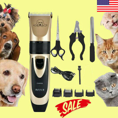 Pet Dog Clipper Grooming Trimmer Hair Low Noise Electric Shaver Kit +scissors US