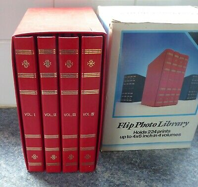 4 Brand New Flip Photo Albums (224 Photos) in Case Red