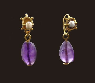 A Pair Of Exquisite Roman Gold Earrings With Glass Beads & Amethyst (N286)