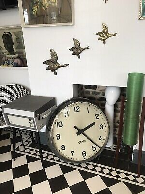 """Antique LARGE 1940 Metal Gents Of Leicester Industrial Factory Clock 27"""""""