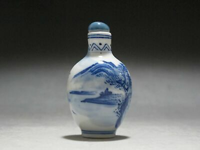 China Blue and white Porcelain Snuff bottle Painted Scenery Bird Two ring mark