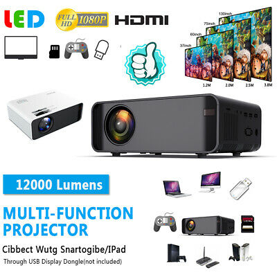 New 12000Lumens 1080P Full HD Home Theater Cinema LED 3D WiFi Projector
