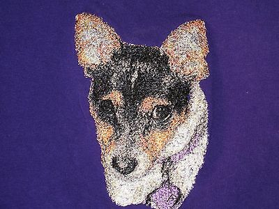 Embroidered Long-Sleeved T-shirt - Rat Terrier AED16220