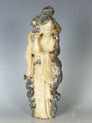 Chinese Carved Soapstone Figure Guanyin E20Thc