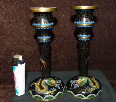 Antique Chinese Cloisonne Pair  Candlestick With Dragon C.1900