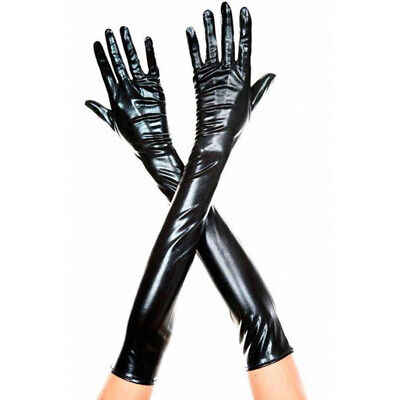 Women's Full Finger Gloves PU Leather Wet Look Nightclub Party Sexy Long Mittens