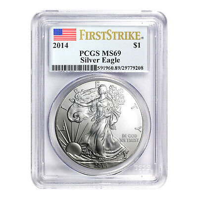 2014 $1 American Silver Eagle MS69 PCGS - First Strike