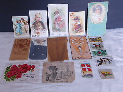 15 Antique Trade Cards Dogs Birds Flags Hires Rootbeer Globe Ranges Old Grimes