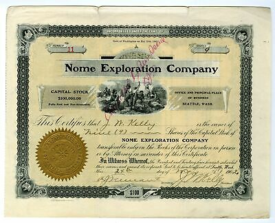 WA. Nome Exploration Co., 1902 9 Shares I/C Capital Stock Certificate, Fine