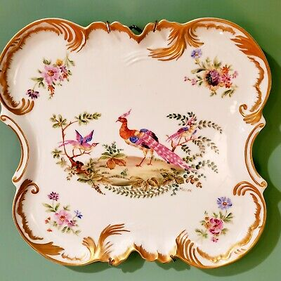 Large Beautiful Antique Hand Painted Serving/ Dresser Tray