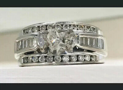 14k White Gold Natural Marquise Baguette Diamond Engagement Ring 1 ct 8 Gs Gold