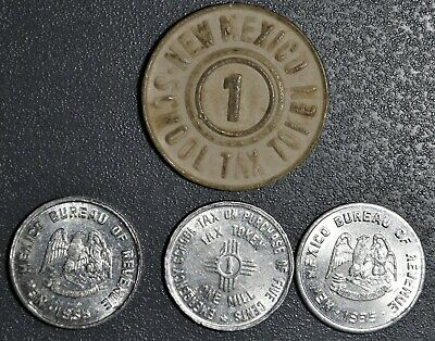 1934 New Mexico EMERGENCY SCHOOL TAX TOKENS Lot of 4 Various Types JB10