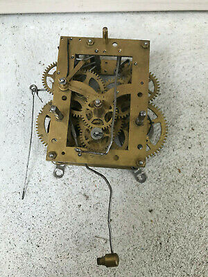 Crossed Arrows Hamburg American Clock Time Strike Movement tested for parts repa