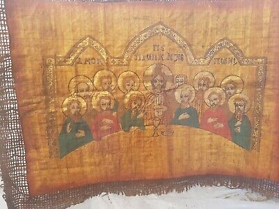 Rare Antique Ancient Egyptian Papyrus Ancient Christian Priests Meet Church 30AD