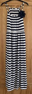 Girls H&M Long Navy And White Maxi Dress Age 11-12