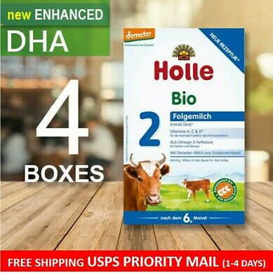 Holle Bio Stage 2 W/ DHA (6+ months) 4 Boxes - Organic Follow-On Formula - 600g