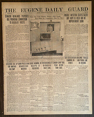 1911 RMS OLYMPIC Maiden Voyage Newspaper Front Page Captain Smith Looks On 7/5