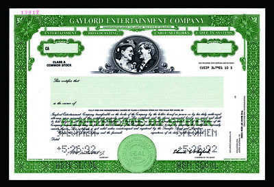 Gaylord Entertainment Company, 1992 Specimen Class A Stock Certificate, VF