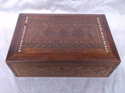 820 / Early 20Th Century Hand Made And Hand Carved Wooden Box With Inset Beads