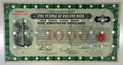 Puerto Rico. People of P.R., 1935 $1000 3 1/2% Loan Irrigation Ext. VF POC BEP