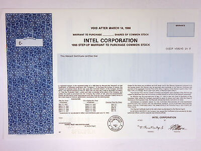 Intel Corporation 1993 Specimen Stock Warrant to Purchase Shares XF