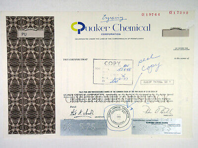 PA. Quaker Chemical Corp., 1977 Proof Stock Certificate w/ Archival Notations