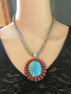 Beefy Turquoise, Coral, Sterling Silver Pendant & Navajo Pearl Necklace