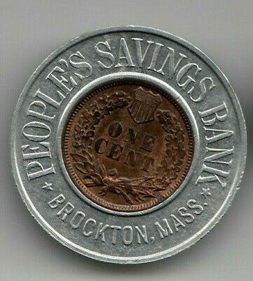Brockton MA encased 1908 Indian Cent - People's Savings Bank - Plymouth Co Mass