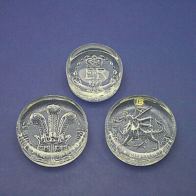 Three Dartington Crystal Glass Royal Paperweights - Charles & Queen Jubilee