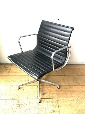 Eames ICF EA107 Aluminium office chair, ribbed black leather