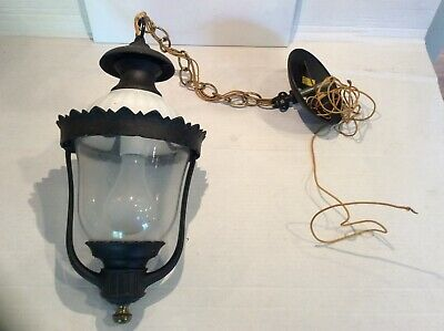 """Hanging Light Fixture With Globe Milk glass Ceiling 18"""" Hang, 23"""" round"""
