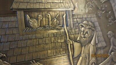 """Wendell August Forge - 9"""" Bronze Plate - Noah's Ark - Hand Signed by Len Youngo"""