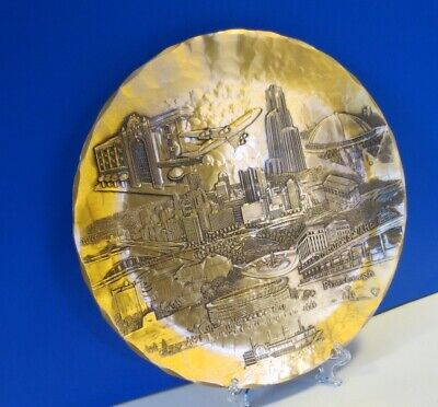 """Wendell August Forge - 9"""" Bronze Plate - Pittsburgh Collage - """"Yinz Miss Us?"""""""