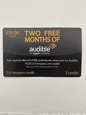Audible TWO free months plus $10 Amazon credit $39.90 Value 2 Free Audiobooks