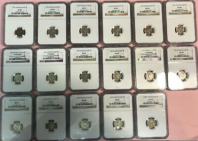 17 Coin Set NGC Slabbed New Zealand 3 Pence 1933 1936 1939 1940-1965 VF XF AU MS