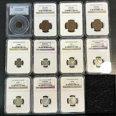 11 Slabbed New Zealand Coins 1947 Half Penny NGC MS64 3 & 6 Pence 1933 1934 1936